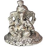 Crafticia Craft Unique Rajasthani Handicraft Oxidised White Metal Silver Religious Sitting Lord Ganesha God Idol...