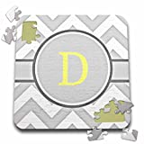 BrooklynMeme Designs - Grey and white chevron with yellow monogram initial D - 10x10 Inch Puzzle (pzl_222092_2)