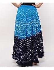 Soundarya Women Cotton Skirts -Blue -Free Size - B00MPU1FJS
