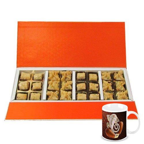 Gifts For Diwali - 24pc Amazing Treat Of Baklava Gift Box With Diwali Special Coffee Mug - Chocholik Belgium Chocolates