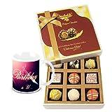 Classic Combination Of White Chocolates With Birthday Mug - Chocholik Luxury Chocolates
