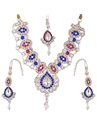 Bel-en-teno Blue & White Alloy Necklace Set For Women - B00PY9YN96