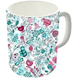 Dreambolic Doodle Flowers And Butterflies Ceramic Coffee Mug