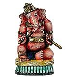 Redbag Ganesha With Dandia Sticks - Wood Carving ( 31.75 Cm, 22.23 Cm, 14.61 Cm )