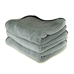 "Chemical Guys MIC_1024_3 - Ultra Plush Micro-Cotton Microfiber Towel, Gray 24"" x 17"" (Pack of 3)"
