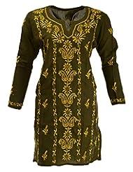 Banthan Women's Cotton Regular Fit Kurta (Bant_1011, Olive Green, 44)