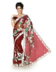 Designersareez Women Net Embroidered Maroon Saree With Unstitched Blouse(1286)