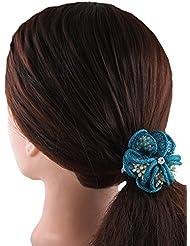 Anuradha Art Turquoise Colour Floral Design Hair Accessories Hair Band Stylish Rubber Band For Women/Girls - B01HI17222