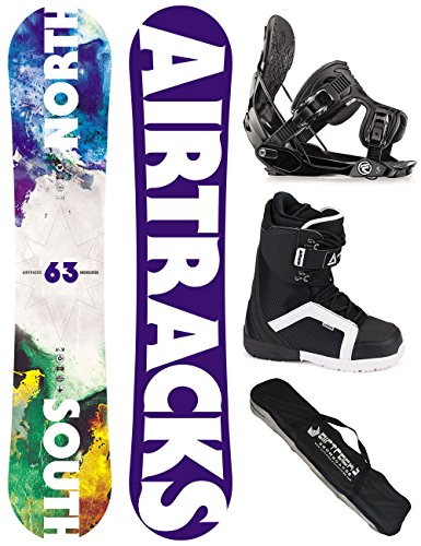 AIRTRACKS SNOWBOARD SET / NORTH SOUTH SNOWBOARD FLAT ROCKER + SOFTBINDUNG FLOW FIVE + SOFTBOOTS + SB BAG / 152 156 159 163 / cm