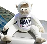American Made Jumbo Stuffed Monkey Wearing Somebody in the Navy Loves You T Shirt, 3 Feet Tall