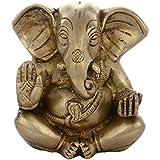 "Aone India God Appu Ganesh / Ganapati Sitting Brass Idol ( 3.5"" X 2.5"" X 4"" Inch, Golden) + Cash Envelope (Pack..."