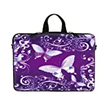 14 14.1 Inch Purple Butterfly Design Laptop Sleeve With Hidden Handle & D Ring Hook Eyelets For Shoulder Strap...