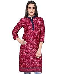 Eternal Women's Dark Pink Printed Pashmina Knee-Length Kurti With Pocket( TSFPS002)