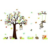 AWAKINK(TM) Large Jungle Animals Owls Tree Removable Wall Stickers Wall Decor Home Decor Wall Art Kids Room Bedroom...