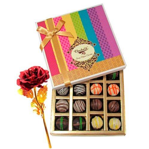 Colorful Truffles Treat With 24k Red Gold Rose - Chocholik Belgium Chocolates