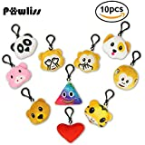 "Pawliss 2.5"" Emoji Animal Keychain Party Supplies Plush Toy Bag Accessory Pack Of 10"