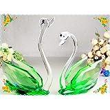 1PC 100mm Bling Bling Green Crystal Swan Figurine ( Randomly : Sending)
