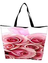 Snoogg Pink Flower Waterproof Bag Made Of High Strength Nylon - B01I1KKMTY