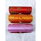 Rstar Random Assorted Colors Lipstick Case 3pcs Set Lipstick Case W/Mirror,Satin Silky Fabric With Floral Prints...