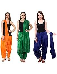 Pistaa Combo Of Cotton Orange, Pak Green And Royal Blue Patiala Salwar Dupatta Set