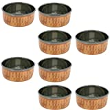 Hammered Tableware Accessories Copper And Stainless Steel Dessert Bowl, Set Of 8, Diameter 8.5 Cm