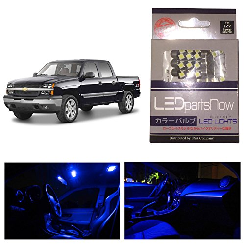 LEDpartsNow Chevy Silverado 1999-2006 Blue Premium LED Interior Lights Package Kit (13 Pieces)