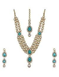 Lucky Jewellery Rama Green Color Gold Plated 3 Line Kundan Jewellery Set For Women