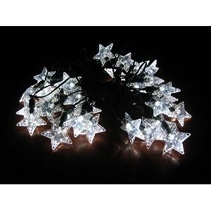 Smart Solar 3730WR30 Solar Star Light String, 30  White LEDs with Star Covers