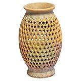 Artist Haat Hand Carved Natural Soapstone Flower Vase Design 26