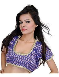 Exotic India Royal-Blue Brocaded Banarasi Choli With All-Over Woven - Royal-Blue