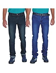 ALLY Of Focker Combo Of Men's Basic & Deep Blue Stretchable Jeans