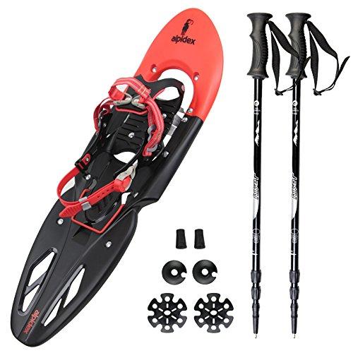 Spar-Paket: Schneeschuh ALPIFLEX 29 in Flexi-Red mit Tragetasche von Alpidex + Leichter 3-teiliger Teleskopstock Schneeschuhstock Hiker 5000