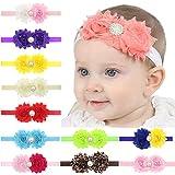 11Pcs Newborn Pearl Double Rose Flower Hair Band Chiffon Sun Flower Elasticity Headband Children Hair Accessories...