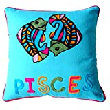 Homeblendz Cotton Pisces Zodiac Design With Wool Embroidary Turquoise 40x40 Cushion Cover