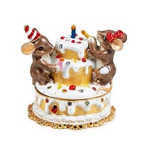 "Charming Tales Mice and Birthday cake Figurine 2.25"""