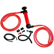 Liquid Transfer/Siphon Hand Pump - Manual Plastic Sucker Pump With Two - 50 X ½ Inch Hoses - For Gas, Oil, Air...
