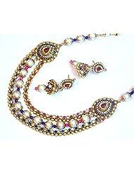 Elegant Bridal Wear Ethnic Pearl Golden Necklace Set For Women EEN131