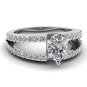 1.10 Ct Pear Shaped Diamond Open Band Engagement Ring Pave Set SI2 D-Color GIA Certificate # 2151412265