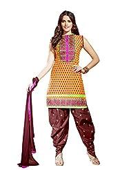 Multi Color Cotton Patiala Unstitched Suit With Brown Dupatta