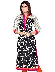 RadadiyaTRD Women's Cotton Kurti (Black & White Kurti_Free Size Black)