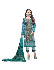 Blue And Green Digital Print Work Party Wear Pakistani Salwar Suit Semi Stitched Dress Material