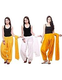 Mango People Products Combo Of Light Yellow, White & Mustard Yellow 3 Indian Readymade Patiala Salwar Dupatta...