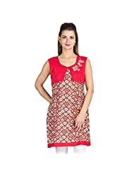 Vamakshi GRCJ7K241 Pure Cambric Regular Kurti In Red And White Colors.