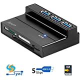 Alxum 3 Ports USB 3.0 Hub With Multi-In-1 Card Reader With 5V 2A Adapter And USB 3.0 Cable For IMac MacBook MacBook...