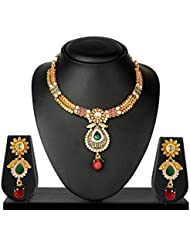 VK Jewels Beautiful Traditional Gold Plated Necklace With Earrings- NKS1157G [VKNKS1157G]