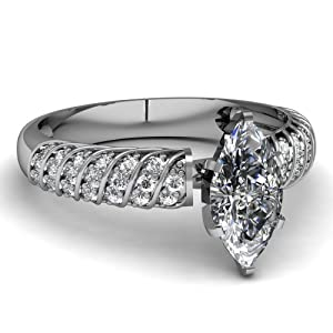 0.85 Ct Marquise Cut SI1 Diamond Rope Style Engagement Ring Pave Set Gold GIA Certificate # 2141974695