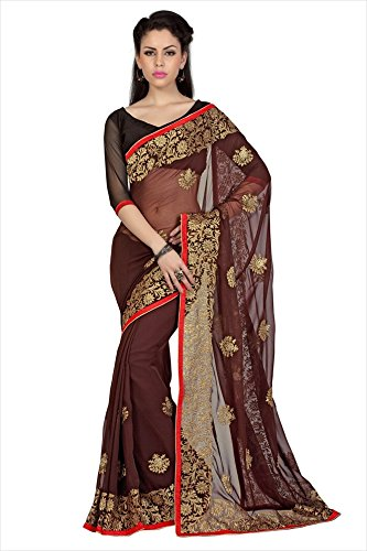 Designersareez Women Coffee Faux Georgette Saree With Unstitched Blouse (1672)