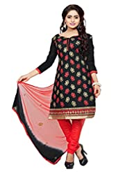 Divya Emporio Unstitched Cotton Silk Salwar Suit Dupatta(DE-018_Black)