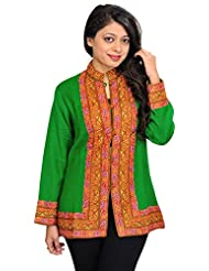 Exotic India Mint-Green Jacket From Kashmir With Ari Hand-Embroidery On - Green