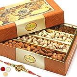 Ghasitaram Gifts Rakhi Gifts For Brother Rakhi Dryfruits - Ghasitaram's Dryfruit Box 400 Gms With Om Rakhi